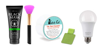 A blackhead remover mask, rechargeable lightbulbs and cat scratch deterrent tape