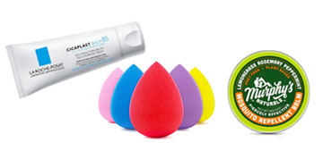 A makeup sponge set, healing cream and environmentally friendly laundry detergent