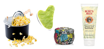 Movie style popcorn at home, a detangling brush and a face roller set
