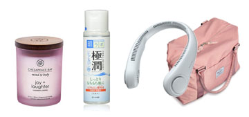 A neck and desk fan, a travel bag and affordable hyaluronic acid