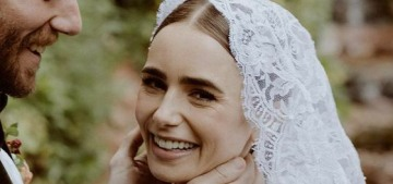 Lily Collins wore Ralph Lauren for her weekend wedding to Charlie McDowell