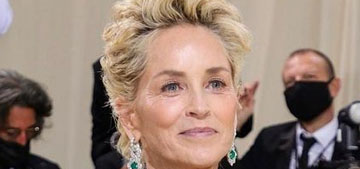 Sharon Stone in Thom Browne at the Met Gala: classic and beautiful