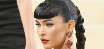 Megan Fox wore clip-in bangs & an '80s-style Dundas gown to the Met Gala