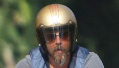 "Brad Pitt explains bike accident: ""No injuries, except my ego."""