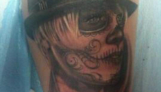 """Carey Hart gets """"day of the dead"""" style tattoo of Pink"""