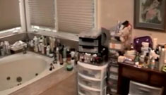 Simon Monjack shows extremely cluttered bathroom where Brittany Murphy died