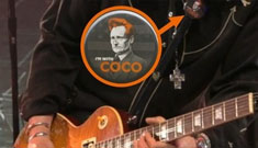 Slash wears an 'I'm With Coco' pin on Jay Leno's show