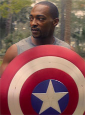 Anthony Mackie holding the shield