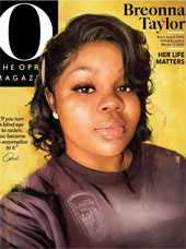 beautiful illustration of Breonna Taylor on the cover of O Magazine