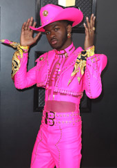 Lil Nas X at the Grammys in Versace