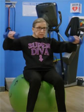 Ruth Bader Ginsburg working out