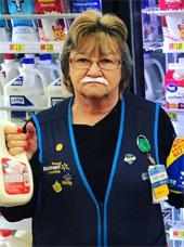 Walmart employee with milk mustache